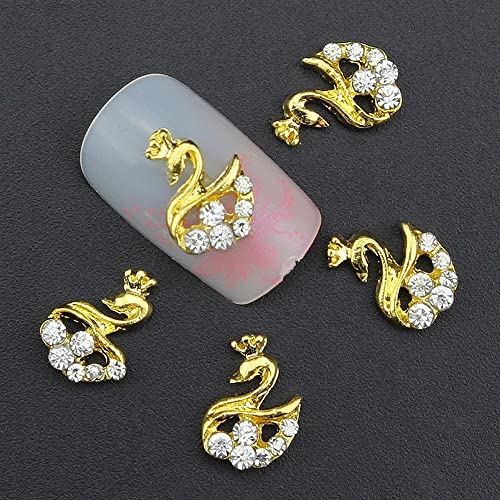 20pcs/pack Golden Swans Diamonds Metal Rhinestones 3d Nail Art Decorations Alloy Nail Stickers Charms