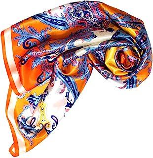 Lorenzo Cana Foulard pour femme, 100% soie, avec motif paisley baroque, 100x100cm