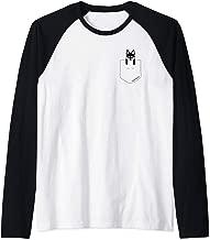 BLACK & WHITE Alaskan Klee Kai BROWN EYES shirt pocket Raglan Baseball Tee
