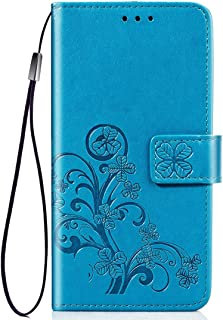 Apple Leather Case for iPhone XI Max, Four-Leaf Clasp Embossed Buckle Mobile Phone Protection Leather Case with Lanyard & ...