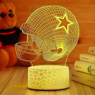 Dallas Cowboys Helmet Night Light 3D Illusion Lamp Football Helmet,Children's Day Best Gift,Football Fans Kids Bedroom Decor Bedside Lamp,7 Colors Change LED Lamps,Smart Touch USB,Birthday Gift Baby