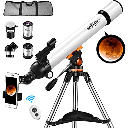 BOBLOV Astronomical Telescope,Telescope for Adults,Kids, 700x70mm Astronomical Refractor with Adjustable Tripod, 5x24 Infrared Optical Viewfinder Phone Adapter for Adults,Kids,Professional (White)