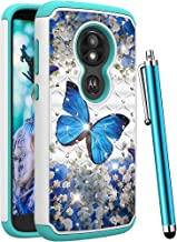 Moto E5 Play Case, Moto E5 Cruise Case for Women Girls,CAIYUNL Luxury Bling Glitter Studded Rhinestone Dual Layer Protective Phone Case Shockproof Heavy Duty for Motorola Moto E5 Play-A Blue Butterfly