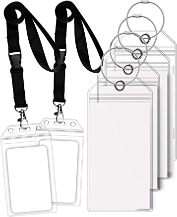 GreatShield Cruise Luggage Tag Holder (4 Pack) with Zip Seal & Steel Loops, Weather Resistance PVC Pouch - Clear