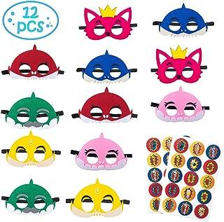 12Pcs Little Shark Masks Set Shark Party Favors Plus 30 Cartoon Stickers, Children Cosplay Soft Mask Half Masks Birthday Themed Party Masks with Cute Shark Stickers Felt Masks for Kids Boys Girls