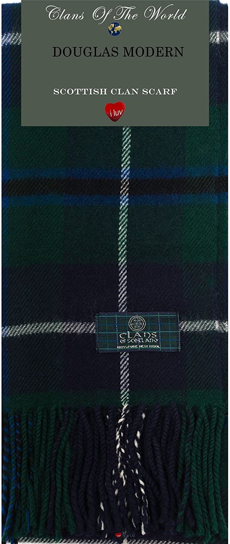 Douglas Modern Tartan Clan Scarf 100% Soft Lambswool