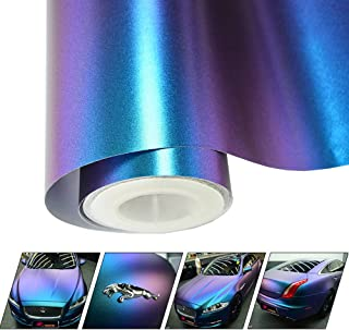 VINYL FROG Chameleon Vinyl Wrap Matte Metallic Vehicle Film Purple to Blue Stretchable Air Release DIY Decals 11.8x60