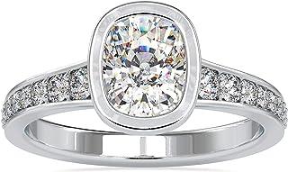 مجموعة خاتم خطوبة 2.03 CTW كوشن عديم اللون من شركة Diamondrensu ، شريط مدبب، خاتم ويدحرج للنساء، مجموعة خواتم أنفيري