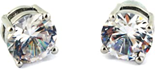 LYM Magnetic Clip On Ear Stud Earrings CZ Cubic Zirconia 1 Pair Clear Round Unisex, 10MM