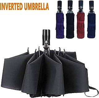Inverted Windproof Umbrella Auto Open and Close, Compact Portable Travel Umbrella, Reverse Open Umbrella for Car