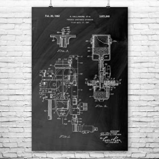 Patent Earth Anesthesia Machine Poster Print, Anesthesiology, Doctor Gift, Dentist, Nurse Gift, Orthopedic Surgeon, Medical Student Chalkboard (Black) (11