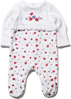 M/&Co Baby Train Velour Sleepsuit with Long Sleeves and A Peter Pan Collar