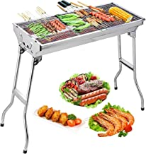 Uten Stainless Steel BBQ Charcoal Grill Smoker Barbecue Folding Portable for Outdoor Cooking Camping Hiking Picnics Backpa...