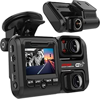 Pruveeo D30H Dash Cam with Infrared Night Vision and WiFi, Dual 1920x1080P Front and Inside, Dash Camera for Cars Truck Ta...