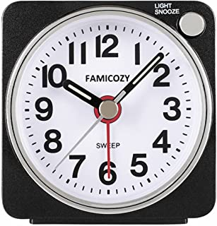 FAMICOZY Small Lightweight Travel Alarm Clock, Silent Non Ticking Analog Alarm Clock with Snooze and Light,Sound Crescendo,Mini Quartz Alarm Clock,Battery Operated(Black)