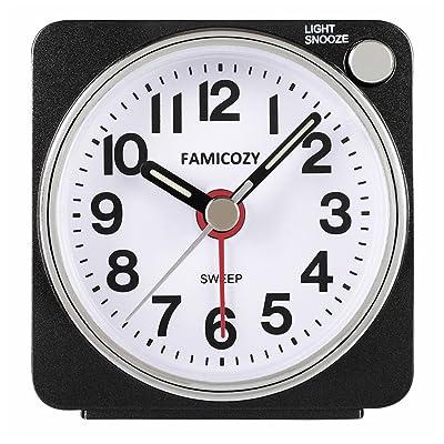 FAMICOZY Small Lightweight Travel Alarm Clock, ...
