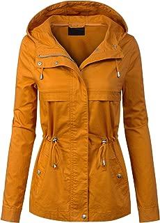 MixMatchy Women's Lightweight Front Zipper Solid Utility Anorak Hoodie Jacket