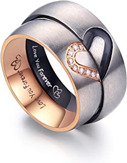 Matching Promise Rings for Couples Love You Forever Wedding Bands Sets for Him and Her Half Heart Rings Stainless Steel 6mm with Box Comfort Fit