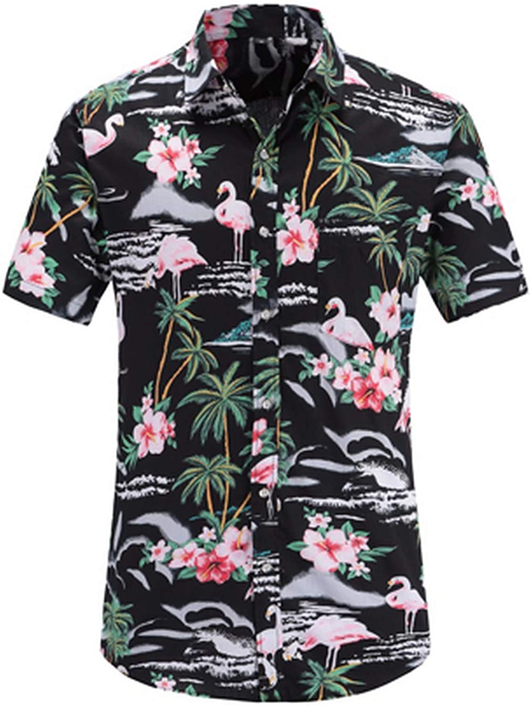 43811c3e New face Summer Hawaiian Short Short Short Sleeve Shirt Men Cotton  Flamingos Floral Printed Casual Dress Shirts 3XL ef8750