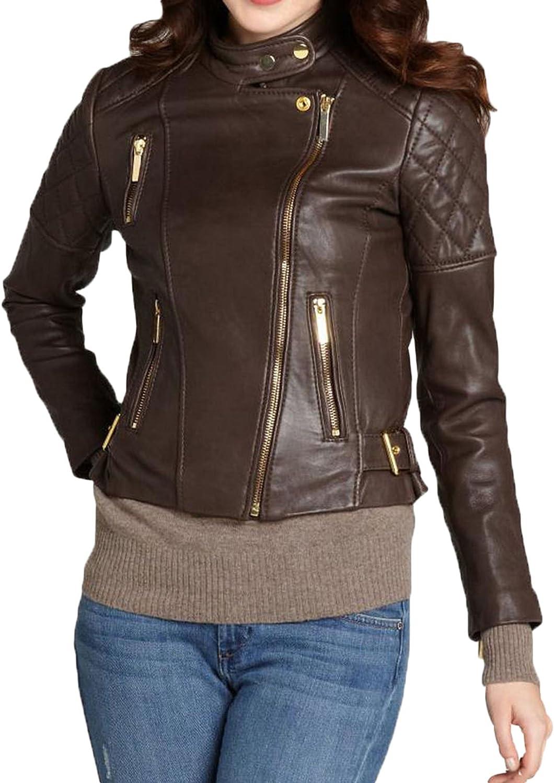 Kingdom Leather New Women Motorcycle Lambskin Leather Jacket Coat Size XS S M L XL XW569