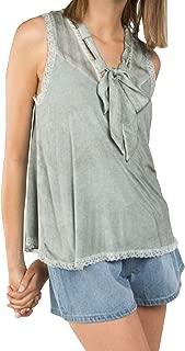 Women's A-Line Ribbon Style Neck Line Sleeveless Top