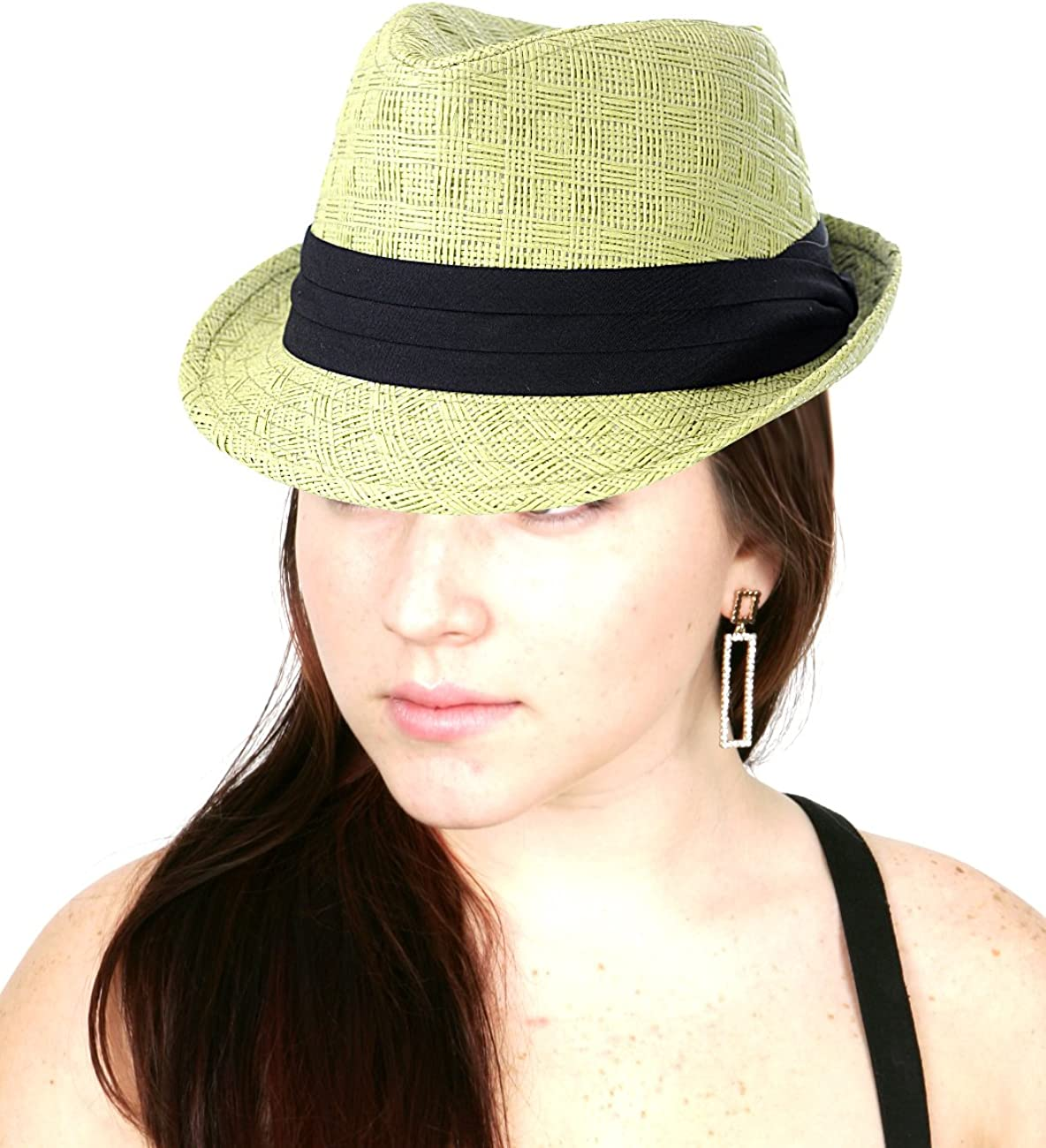 NYFASHION101 Women's Paper Woven Straw Fedora Hat w/ 3 Tier Band
