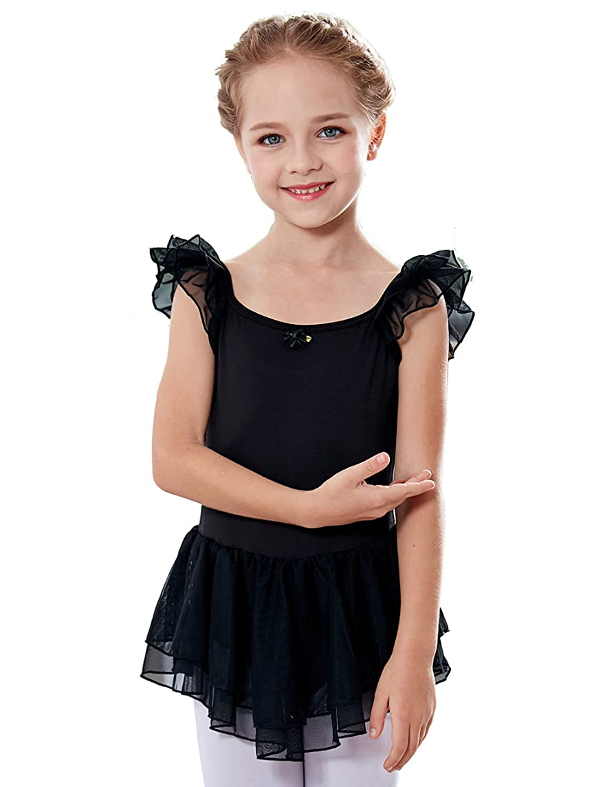 MdnMd Girls' Flutter Sleeve Ballet Leotard Dress