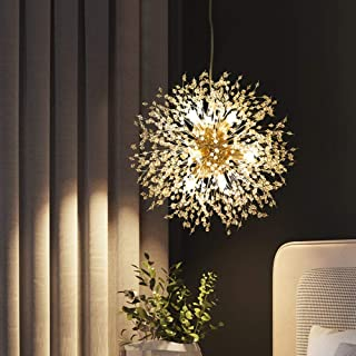 Dellemade Sputnik - Lámpara de araña con 8 luces doradas, lujosa, para dormitorio, salón, comedor