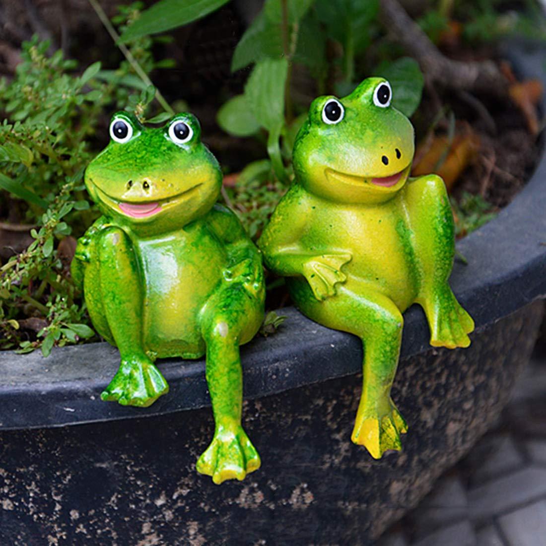 DHG – Estatuas de jardín – 1 par de Bonitas Ranas sentadas de Resina para decoración de jardín, Ranas Decorativas para el hogar, Estanque, jardín, Ranas pequeñas: Amazon.es: Hogar