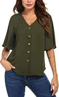 Aotifu Womens Blouses Casual V Neck Striped 3//4 Sleeve Cuffed Sleeve Button up Collar Tunic Shirts Tops