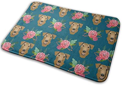 "Airedale Terrier Floral Cute Dog Pattern Blue_27262 Doormat Entrance Mat Floor Mat Rug Indoor/Outdoor/Front Door/Bathroom Mats Rubber Non Slip 23.6"" X 15.8"""