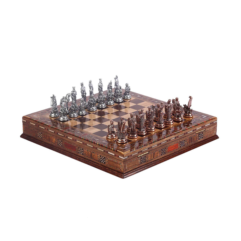 Juego de ajedrez de cobre antiguo para adultos, piezas hechas a mano y tablero de ajedrez de madera maciza natural con diseño de perlas alrededor de la tabla y almacenamiento interior de: