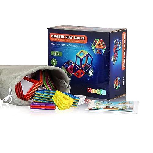 Magnetic Blocks Magnetische Bausteine 56 Stück Tolles Weihnachtsgeschenk Magnetspielzeug Lernspielzeug für Baby,Kleinkinder ab 3 Jahre | Perfekt für den Einsatz zu Hause, in Schulen, Picknick, Kindertagesstätten Magnetische Konstruktion Blöcke