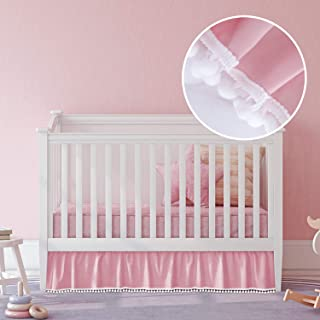 Pink Crib Skirt Pleated with White Lovely Pompoms, Bedding Dust Ruffle for Baby Girls, 14