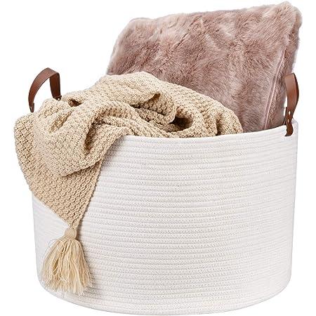 Lini Cream Strong Wicker Storage Chest Trunk Toy Blanket Box Hamper basket