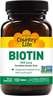 Country Life Biotin 500 mcg - 120 Tablets - Supports healthy hair, skin, and nails