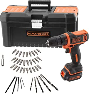 BLACK+DECKER BDCDD121KA-QW Cordless Drill 10.8 V with 1 x 1.5 Ah Lithium Battery, 40 Accessories and 16 Inch Tool Case