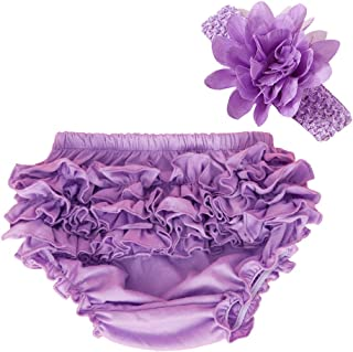 muyan Baby Girl's Cotton Shorts and Diaper Cover Bloomers Shorts+Headband in Set