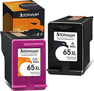 ATOPolyjet Remanufactured Ink Cartridge Replacement for HP 65XL 65 XL Work with HP Envy 5055 5052 5010 DeskJet 3755 3700 2...