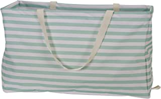 Household Essentials 2242 Krush Canvas Utility Tote   Reusable Grocery Shopping Laundry Carry Bag   Teal And White Stripes, 22