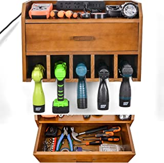 Power Tool Organizer Storage - Garage Drill Charging Station - Wooden Cordless Drill Holder Rack Wall Mount with Drawer