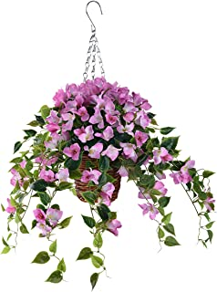 INQCMY Artificial Flowers Hanging Basket with Bougainvillea Silk Vine Flowers for Patio Lawn Garden Decor,Fake Flower Centerpieces, Artificial Hanging Plant in Ivy Basket for Outdoor/Indoor(Pink)