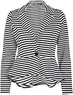 Womens Long Sleeves Stripe Print Peplum Button Blazer