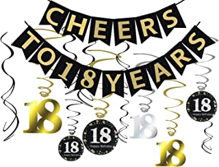 Tuoyi 18th Birthday Party Decorations KIT - Cheers to 18 Years Banner, Sparkling Celebration 18 Hanging Swirls, Perfect 18 Years Old Party Supplies 18th Anniversary Decorations