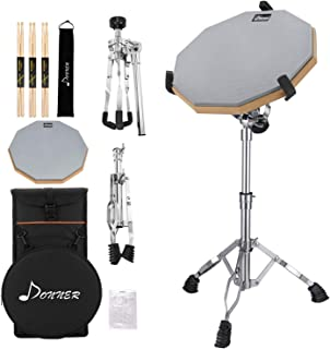 Donner Drum Practice Pad With Snare Drum Stand Kit, Including 12 Inches Double Sided Drum Pad, Drumsticks, Adjustable Stand Fits 10''-14'' Dia Drums