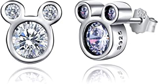 Pearl Stud Earrrings for Women, 925 Silver Sparkling Mini Mouse with Fashion Cubic Zirconia Studs, Shell Pearl Women Jewelry