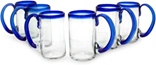 NOVICA Artisan Crafted Clear Blue Hand Blown Recycled Glass Beer Mugs Glasses, 16 oz. 'Cobalt Beer' (set of 6)