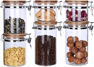 Glass Canisters Sets for the Kitchen with Airtight Lids Glass Food Storage Containers Dry Goods Storage Jars with Locking Clamp Bamboo Lids Coffee Beans Loose Tea Candy Sealed Cannisters Pack of 6