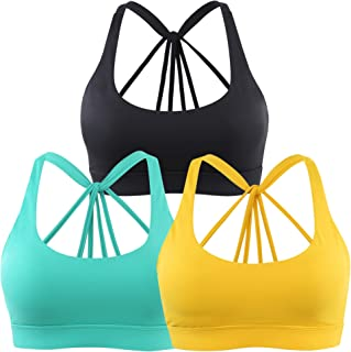 3628448b14ade INIBUD Women s Sports Bra Esthetics Cross Waterfall Strappy Wirefree  Removable Pads Yoga Bra for Workout Fitness