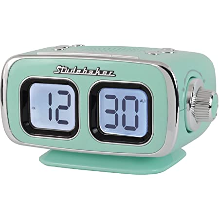 Large Display LCD AM/FM Retro Clock Radio USB Bluetooth Aux-in Bedroom Kitchen Counter Small Footprint (Teal)